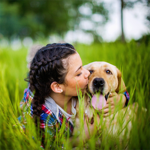 A girl kissing a dog in the grass